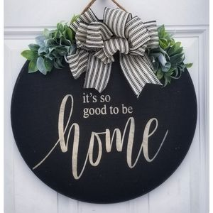 "Farmhouse Inspired 17""  Wooden front door hanger"